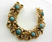 Gorgeous Gorgeous Vintage Renaissance Revival small pearls and Art Glass turquoise  Cabochons  Chunky Link Bracelet- art.261/3-