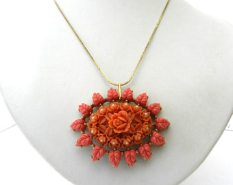 Gorgeous necklace with carved celluloid pendant, vintage 1940 -jewel collection - coral pink, tiny pearls,  K18GF gold--Art.152/3-
