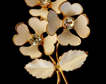 1950s STUNNING BROOCH With Lovely Stones & Design- with enamel on gold , flower brooch with crystals --Art.420--