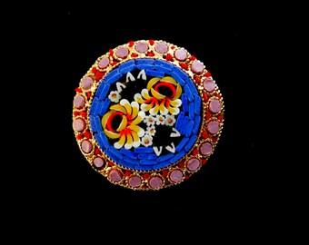 Vintage Italian 1950 - fabulous micro mosaic brooch ITALY brand - Italian Florentine Art---Art.266/3 -