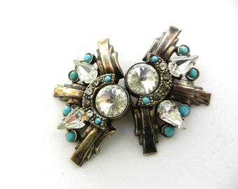 Unique e extraordinary earrings,  original 1970s Italian - large crystals and turquoise on dark silver--Art.333/3 --