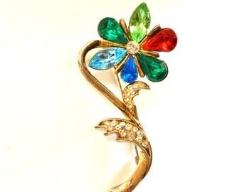 Gorgeous 50s multicolor flower Brooch  - An elegant flower vintage - Rhinestones  and golden brass -art.652-