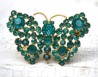 Antique Czech Glass Butterfly Pin . Green Rhinestones . Prong Set . Signed