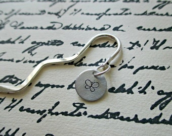 squiggle shepard's hook bookmark with hand stamped aluminum butterfly dangle