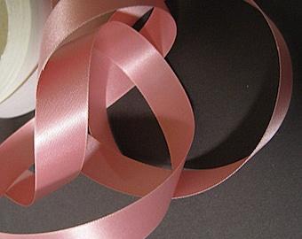 Vintage pink ribbon 50s ribbon fabric ribbon trim rayon acetate ribbon sewing ribbon Rose blush  5/8 inch Y921