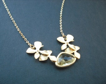 Sterling Silver Chain - matte yellow gold double orchid flowers with jonquil bezel necklace - bridesmaids gift, wedding gift