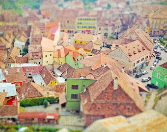 Transylvania Fortress City  - Brown Stone Small Country Town Fine Art Photography, city landscape, Urban, Old City 10x10