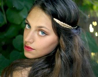 Indian Feather Crown, Greek Goddess Headband, Bridal Hair Accessories, Fairy Crown, Hand Made, Gold Leaf Headband, Golden Leaves Wreath