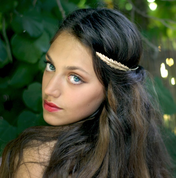 Indian Feather Crown Greek Goddess Headband Bridal Hair