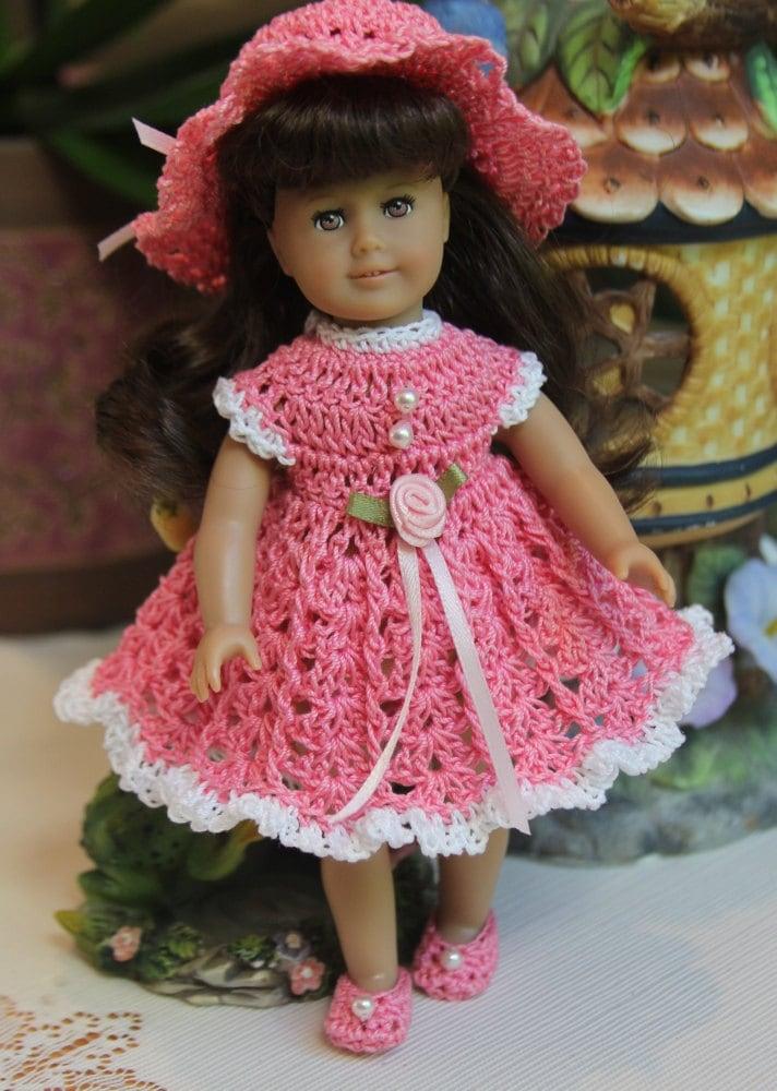 PDF PATTERN Crochet 6 inch American Girl Mini Doll Dress Set
