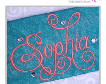 "Charming Calligraphy Script Monogram Set - Small - Full Set 1"", 1.5"", 2"", 2.5""- Instant Download Machine embroidery design"
