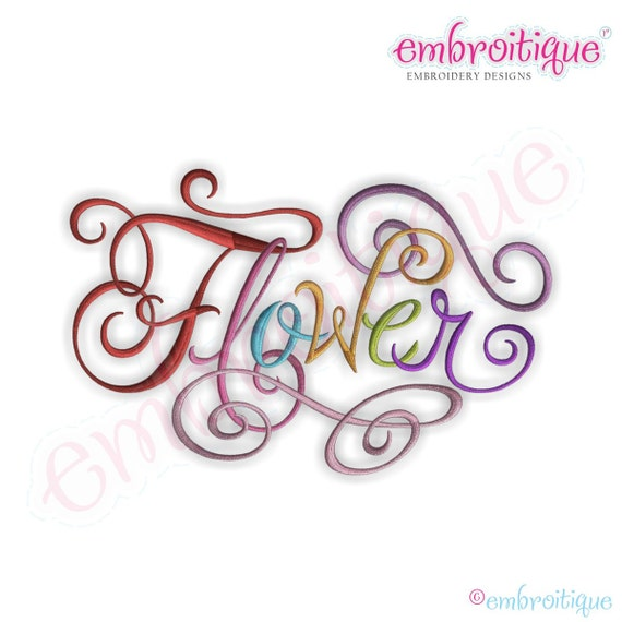 Flower calligraphy script embroidery design instant by