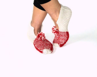 Handmade Slippers, Ivory &Red Wool Slippers, House Slippers
