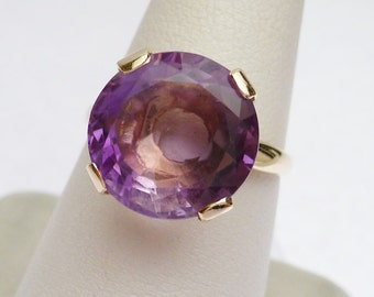 14 kt Unique Cut Round Amethyst Solitaire 1940s or Earlier