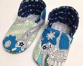 3-6 months Blue Dia de los Muertos Chukka Baby Shoes - READY TO SHIP