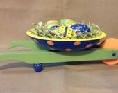 Wood Easter Wheel Barrow with Four Gourd Eggs Painted Decor Wheelbarrow