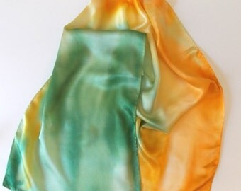 Silk  Scarves, Satin, Hand Designed, Yellow, Spring Green, (Summer Breeze)15x60