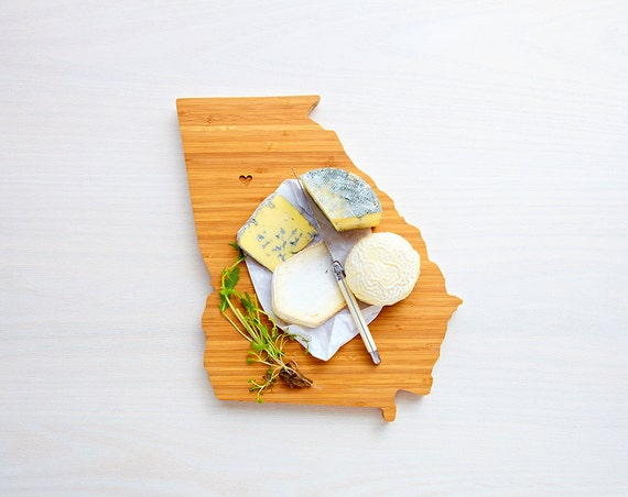 Georgia Cutting Board 4th of july Gift Personalized engraved Georgia cheese state shaped board