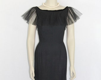 SALE.....1950s Vintage Party Dress - Perfect LBD - Hourglass Silhouette Black Party Dress