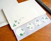 Stationery Writing Set - Green Blossom Tree on Cream Paper