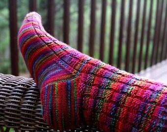 KNITTING PATTERN-Crazy Summer Socks, Sock Pattern