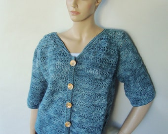 Merino Wool Sweater, Cardigan, Women's Cardigan Sweaters, Crochet Cardigan, Gift for Her, Blue Cardigan, Available in M/L