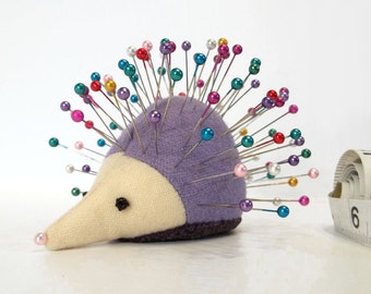 Pincushion, Hedgehog, upcycled wool, handmade, Luna Lavender