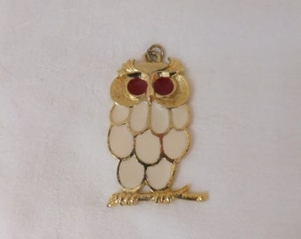 Vintage Owl Pendant SIR-R Gold Tone Off White with Red Eyes Retro Signed Costume Jewelry