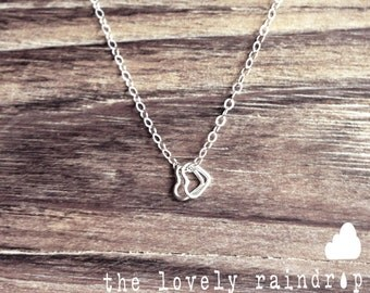 SALE - Tiny Tiny Tiny Sterling Silver Two Tiny Heart Necklace - Modern Dainty Minimal Simple Necklace - Cute Gift - morganprather