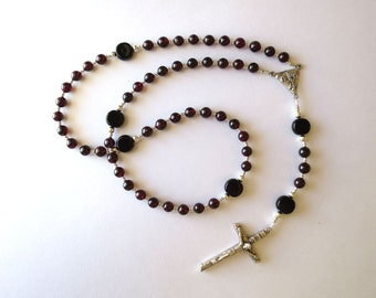 Dark Red Garnet Rosary, January Birthstone Rosary