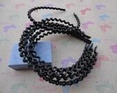 50pcs 5mm black color plastic wave headband with bent end