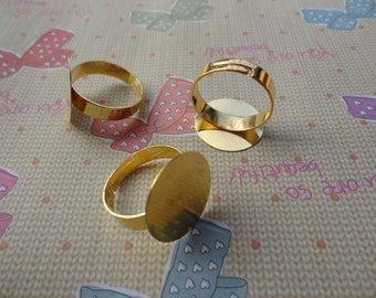 50pcs Adjustable Gold Plated Ring Blanks 18mm
