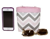 Car CELLPHONE Caddy, Gray and Pink Chevron, Cell Phone Holder, Sunglasses Case, Smartphone Case, Beach Chair Holder, Golf Gift, Women's Gift