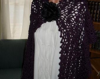 Crocheted Wrap - Shawl - Scarf - Cape with Flower Brooch  -  Women Accessories ''OASIS'' in Dark Plum
