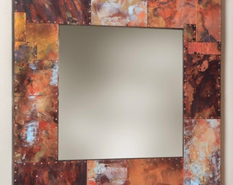35 x 35 Metal and Copper Mirror