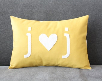 i heart u initial pillow - Custom  -  Home Gifts