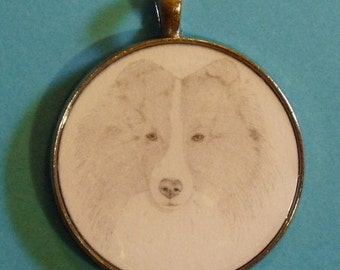 Sheltie Original Pencil Drawing Pendant with Organza Pouch -Choice of Necklaces -Free Shipping- Desert Impressions