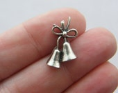 10 Bell charms antique silver tone CT99