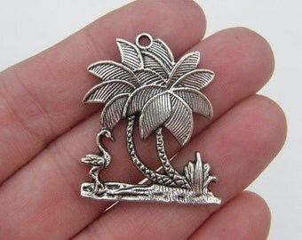BULK 10 Flamingo and palm trees pendants antique silver tone T31