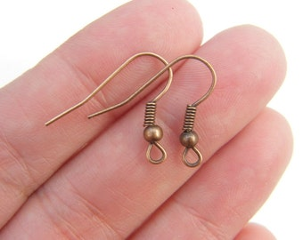 50 Earring hooks 21 x 18mm with ball and wire antique copper tone