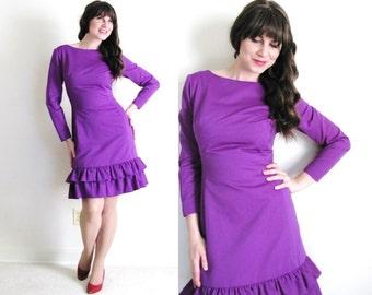 1960s Dress / 60s Wiggle Dress / Purple Dress