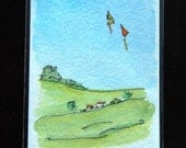 ACEO ~ Kites ~ Doodleland - watercolor - free shipping