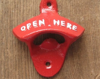 Cast Iron  Bottle Opener/Beer Soda Pop/ Retro Opener Painted in Red /Wall Mounted