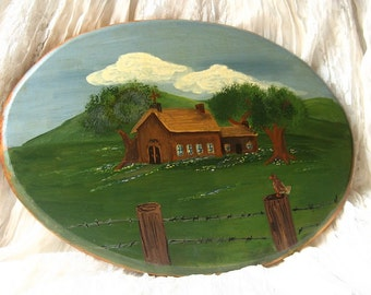 Vintage Painting- Antique Handpainted Church  Wall Plaque Painting Wall Art