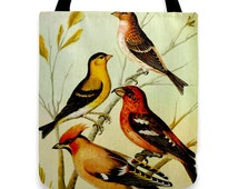 Four Colorful Songbirds - Roomy Tote Bag reinforced seams, pretty bird design tote carry-all bag