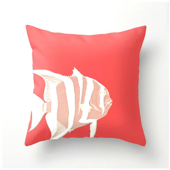 Coral and White Fish decorative throw pillow beach nautical