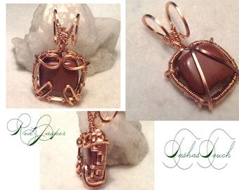 Healing Red Jasper / Copper Tiny Pendant