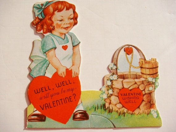 Wishing Well Valentine Card from 1940's