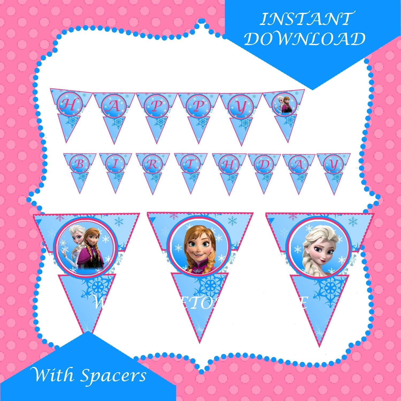 Items Similar To Frozen Disney Happy Birthday Banner