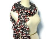 Ruffle Scarf,  Plaid Scarf. Fashion Scarf. Red And Black Scarf, Womens Scarf, Spring Scarf